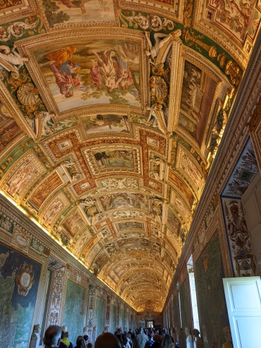 One of the beautiful ceilings in the Vatican Museums