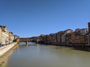 Ponte Vecchio, one of the ancient bridges of Florence with old storefronts that still operate as jewelry stores