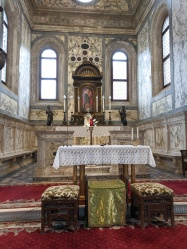 The inside of the Santa Maria dei Miracoli, Venice, to host a miraculous painting of the Virgin Mary, which has been associated with all sorts of miracles, including the restoration of life